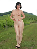 Sexy looking Pantyhose Diva posing in a vineyard | PantyhoseDiva.com
