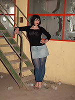 Pantyhose Diva in abandoned warehouse | PantyhoseDiva.com