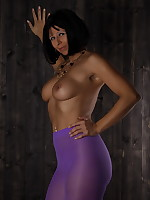 Pantyhose Diva being topless and revealing her tits | PantyhoseDiva.com