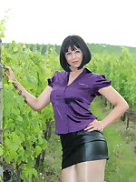 Yet another vineyard photo session of Pantyhose Diva | PantyhoseDiva.com