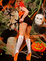 White knee high stockings over orange colred pantyhose